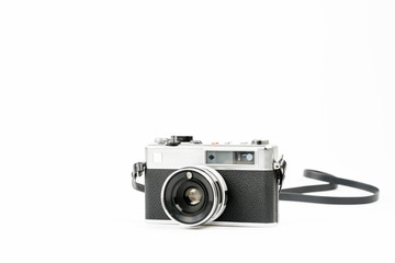 Old vintage camera on background with a space for text