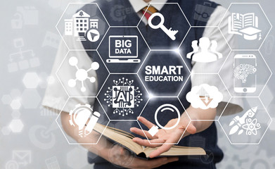 Smart Education AI Big Data Cloud Computing Concept. Student offers smart education icon on virtual screen. Intellectual e-learning technology.