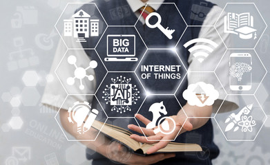 Internet of Things Integration Innovative Information Technologies in Education and Training. Man offers IOT concept for school or university. Smart connection learning technology.