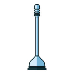 blue shading silhouette of toilet plunger icon vector illustration