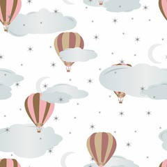 Seamless pattern with air balloons. Vector illustration.