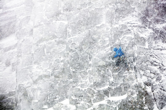 Climber in whiteout blizzard