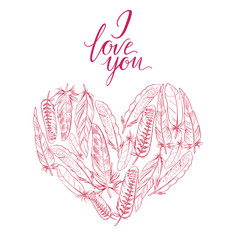Vector illustration Heart of feathers and the words I love you. Ornamental bird feathers isolated on white. Boho elements.