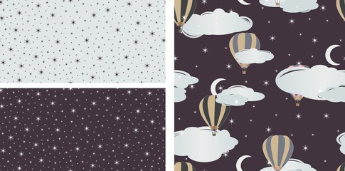 Seamless pattern with air balloons. Vector illustration. Set