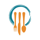Dinner Lunch Food Restaurant Logo With Fork Spoon Knife