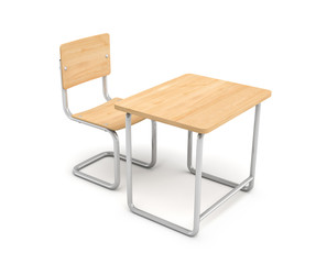 3d rendering of a school desk and chair both are made of iron and light wood isolated on white background.