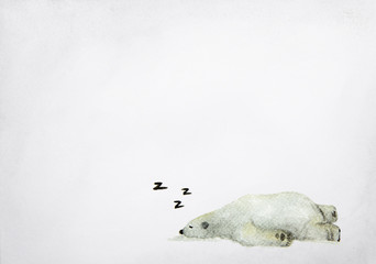 Hand drawn watercolor painting of sleeping polar bear on grey background.