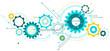 Linked cogwheels & circuits vector