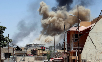 Smoke rises after an artillery attack on the Islamic State militants' positions by the Iraqi Army in the Shifa neighbourhood during clashes in western Mosul