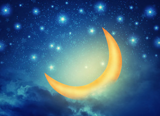 Abstract night fairy background with stars, moon and clouds