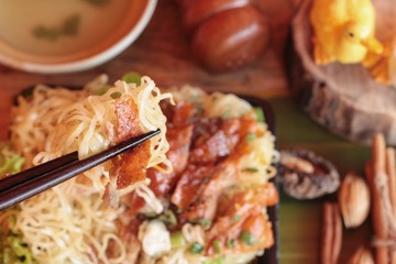 Roast duck noodle is delicious.