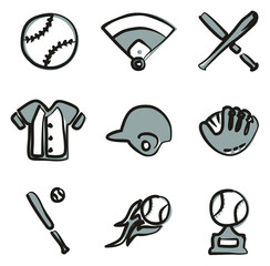 Baseball Icons Freehand 2 Color