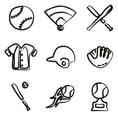 Baseball Icons Freehand
