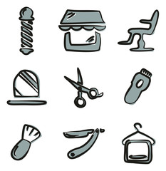Barber Shop Icons Freehand 2 Color
