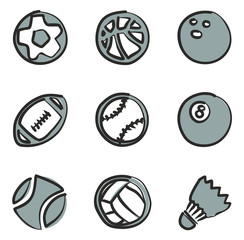 Ball Icons Freehand 2 Color