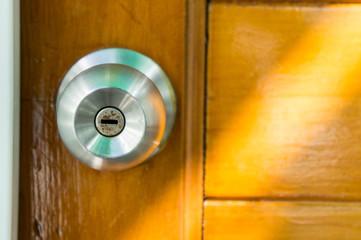 door knob wood backgrond , basic wood door
