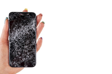 Woman hand holding modern mobile smartphone broken screen and damages. Cellphone crashed and scratch. Device destroyed. Smash gadget, need repair. white background