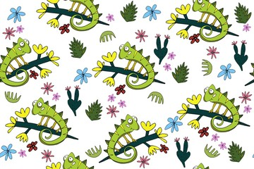 Seamless pattern with cute chameleons. Tropical ornament with lizards and plants.