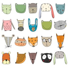 Cute animal faces. A set of graphic characters. Animals: rabbit, frog, Zebra, bear, Fox on a white background.