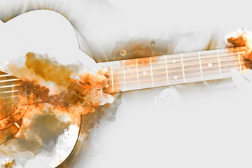 Playing guitar on watercolor painting background.