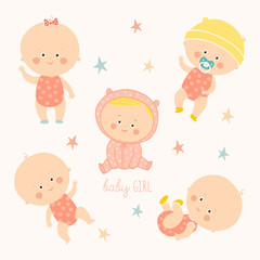 Set with cute baby girls. Growth from newborn to toddler. Various poses.First year. activities. Crawling, sitting, standing, playing, smiling.
