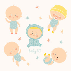 Set with cute baby boys. Growth from newborn to toddler. Various poses.First year. activities. Crawling, sitting, standing, playing, smiling.