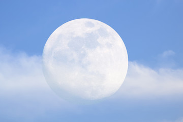 full moon Pink sky in winter