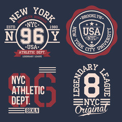 Vintage labels set, athletic sport typography for t shirt print. Varsity style. T-shirt graphic