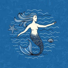 mermaid hand drawn
