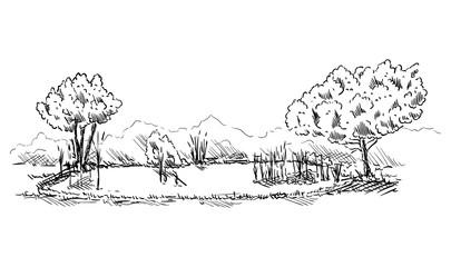 Landscape with pond