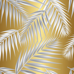 Palm leaf seamless pattern. Vector Illustration.