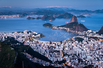 Famous View of the Sugarloaf Mountain by Evening iin Rio de Janeiro, Brazil