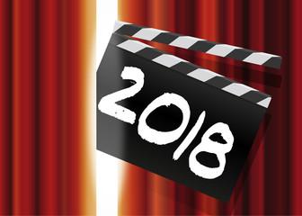 2018 - cinéma - film - clap - présentation - année, carte de vœux - spectacle