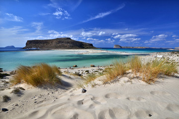Unusual view of Balos bay on Crete island, Greece.