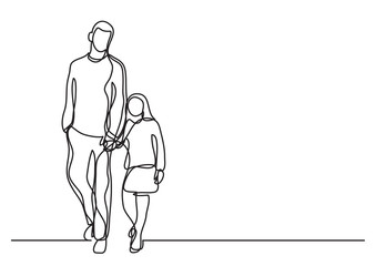 father and daughter walking - single line drawing