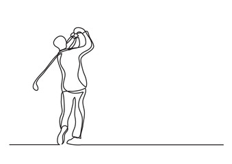 golf player - single line drawing