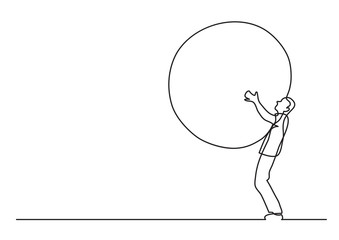 man carrying weight - single line drawing