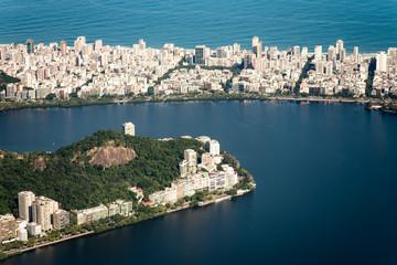 High Angle View of Ipanema and Lagoa Districts in Rio de Janeiro, Brazil