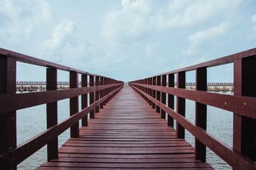 Wood bridge and seascape. Film Filter