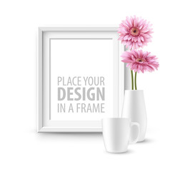 Mock up frame Wall of the interior background. Vector illustration