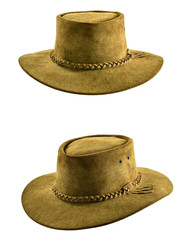 Vintage cowboy leather hat, front view and right angular perspective view,isolated.