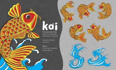 5 Highly Customizable Stylized Koi Fish with Finger Waves