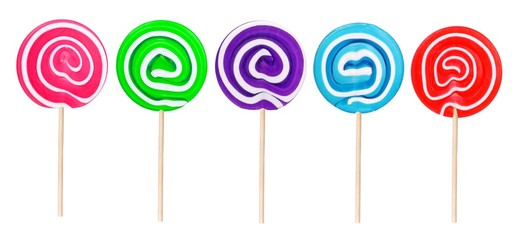 Lollipops in a variety of colors isolated on a white background