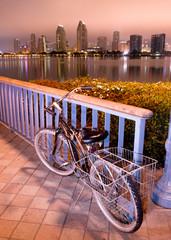 Coronado Island Sidewalk Bicycle San Diego Waterfront Downtown City Skyline