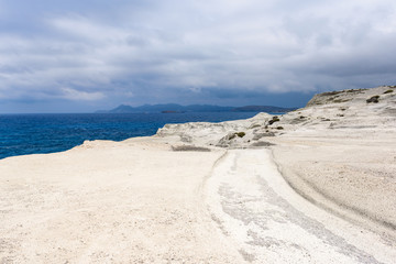 Sarakiniko Beach located on the north shore of the island of Milos. Cyclades Islands, Greece