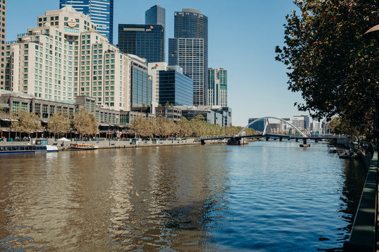 Melbourne, AUSTRALIA - March, 9 2017: South Wharf suburb cityscape from Yarra River in the city center of Melbourne on March 9, 2017.