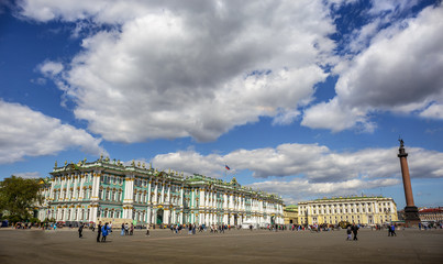 Panoramic view of Palace Square in St. Petersburg. Winter Palace, State Hermitage Museum on a sunny day