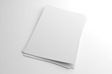 Blank 3D illustration stack of flyer or leaflet on white