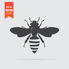 Bee icon in flat style isolated on grey background.