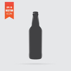 Beer bottle icon in flat style isolated on grey background.